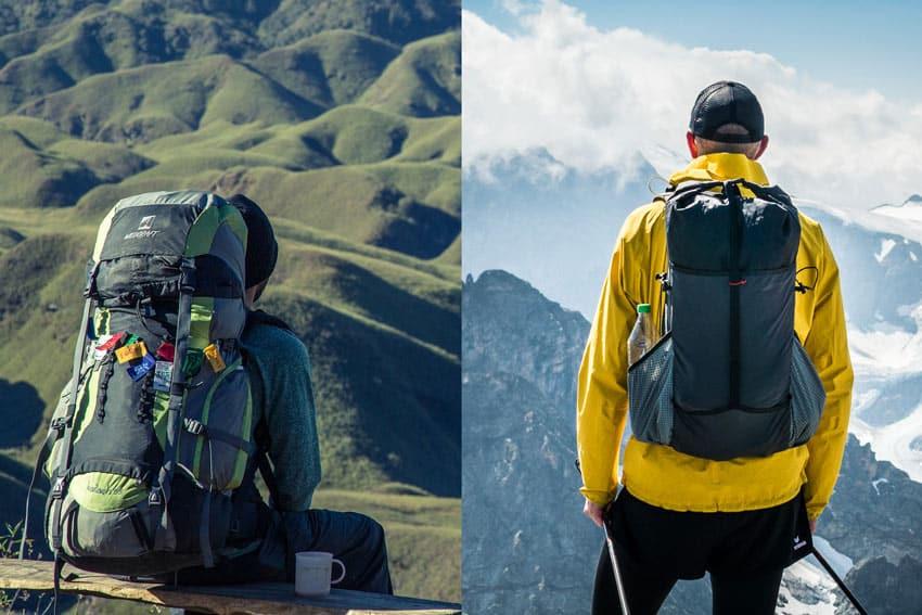 Vergleich eines konventionellen Trekkingrucksack (links) und eines Ultraleicht Rucksack